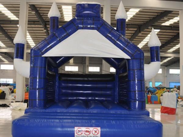 Hüpfburg kaufen Camelot blau weiß bedruckt 4m x 5m