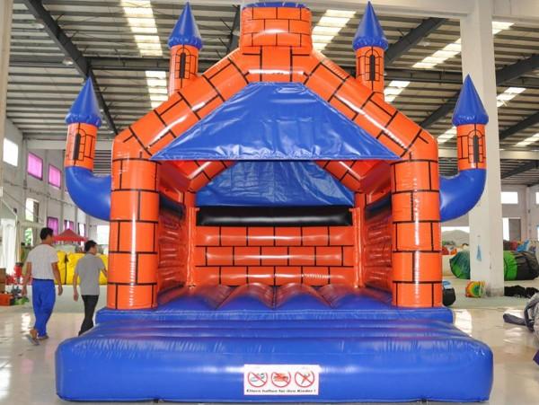 Hüpfburg Camelot 4m x 5m orange blau
